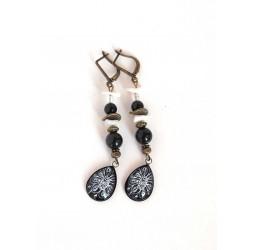 Earrings, pendant, cabochon drops, obsidian black, pearl, bronze crafts