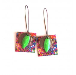 Boucles d'oreilles, pendantes, fantaisie,  multicouleur, feu d'artifice, artisanat