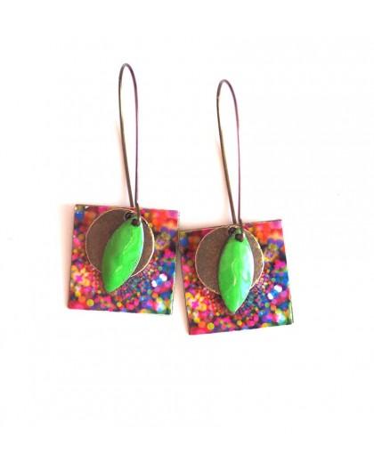 Earrings, pendant, fantasy, multicolor, fireworks, crafts