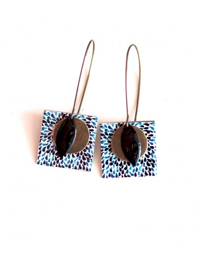 Earrings, pendant, fancy, black and blue drops, crafts