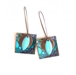 Boucles d'oreilles, pendantes, fantaisie,  peinture bulles tons bleus, artisanat