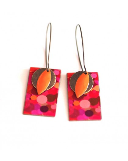 Earrings, pendant, fancy, red and pink fuchsia bubble, crafts