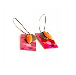 Boucles d'oreilles, pendantes, fantaisie, bulles fushia rouge et rose, artisanat