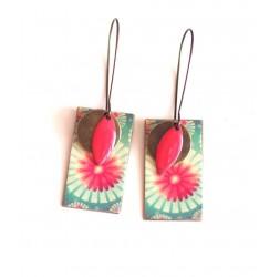 Pendientes, colgantes, de lujo, turquesa y flores de color rosa, la artesanía