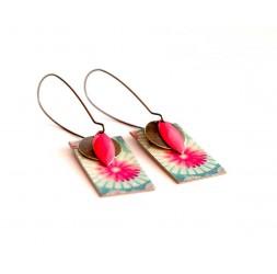 Ohrringe, Anhänger, extravagant, türkis und rosa Blumen, Kunsthandwerk