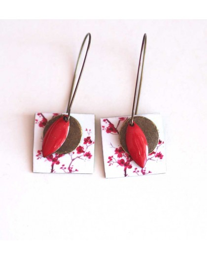 Earrings, pendant, fancy little red and white flowers, crafts