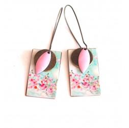 Ohrringe, Anhänger, extravagant, pastellblau und rosa Blumen, Kunsthandwerk