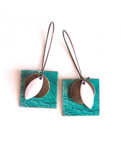 Earrings, pendant, fancy, turquoise faux leather cracked, crafts