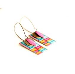 Boucles d'oreilles, pendantes, fantaisie, forme géométrique pop, artisanat