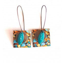 Earrings, pendant, costume, imitation stone, turquoise and brown, crafts