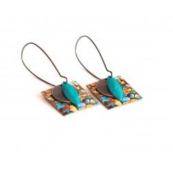 Boucles d'oreilles, pendantes, fantaisie,  imitation pierre, turquoise et marron, artisanat