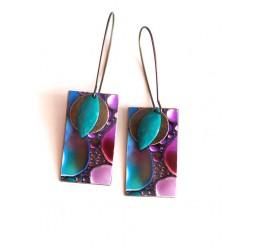 Pendientes, colgantes, suposición, púrpura y turquesa abstractos, la artesanía