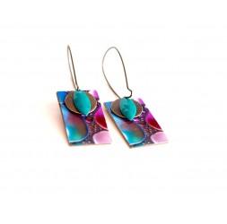 Boucles d'oreilles, pendantes, fantaisie,  abstrait violet et turquoise, artisanat