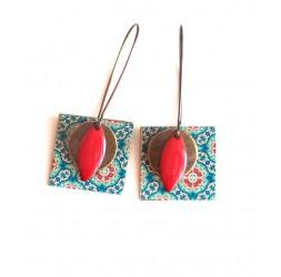 Ohrringe, Anhänger, Phantasie, Geist Marokko, blau und rot, Kunsthandwerk
