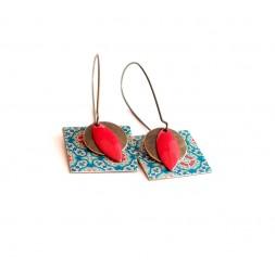 Pendientes, colgantes, suposición, la mente Marruecos, azul y rojo, la artesanía