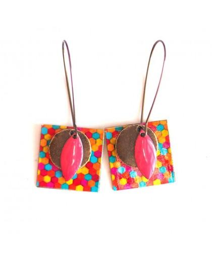 Boucles d'oreilles, pendantes, fantaisie,  multicouleur, bonbons acidulés, artisanat
