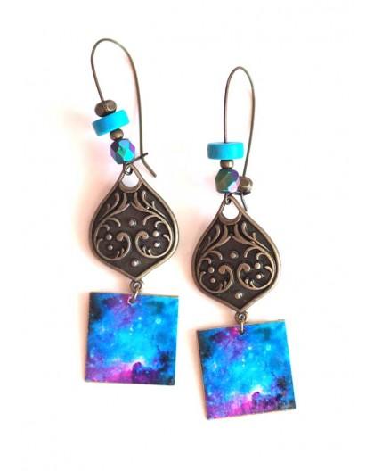 Earrings, pendant, fancy, Blue Universe, galaxy, crafts