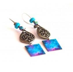 Boucles d'oreilles, pendantes, fantaisie,  Bleu Univers, galaxie, artisanat