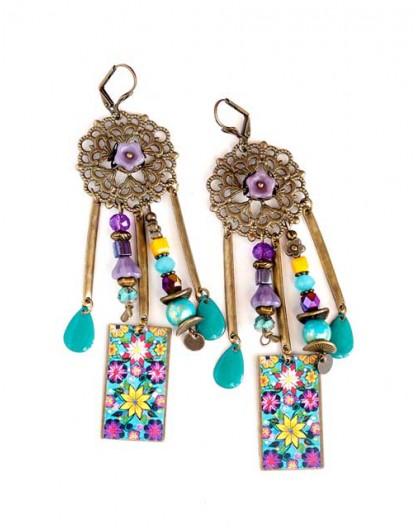 Earrings, pendant, Bohemian, gypsy, yellow blue purple flerus, turquoise, bronze