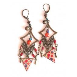 Ohrringe, Anhänger, böhmische, Zigeuner, orange und rote Töne, Türkis, Bronze