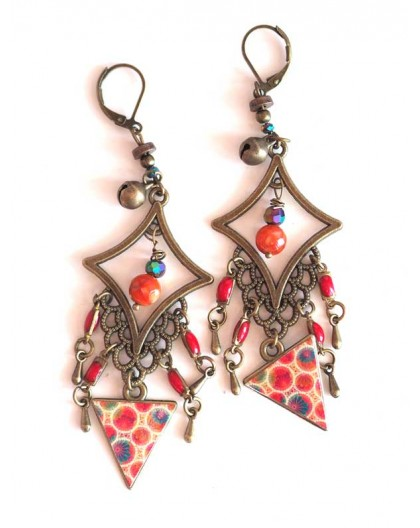 Earrings, pendant, Bohemian, gypsy, orange and red tones, turquoise, bronze