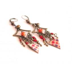 Pendientes, colgantes, Bohemia, gitano, naranja y rojo tonos, turquesa, bronce
