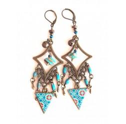 Boucles d'oreilles, pendantes, bohême, gypsy, tons bleu turquoise, turquoise, bronze