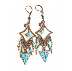 Earrings, pendant, Bohemian, gypsy, turquoise tones, turquoise, bronze