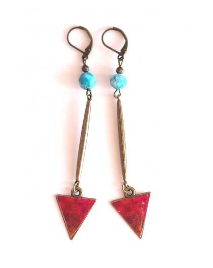 Earrings, pendants long, apatite, red blue, crafts