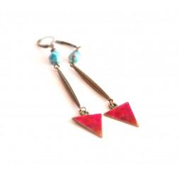 Pendientes, colgantes de largo, apatita, azul rojo, artesanía