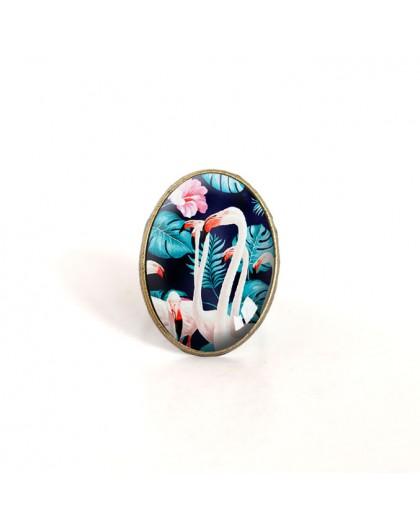 oval Cabochon Ring, Flamingo, tropisch, türkis und rosa, Bronze