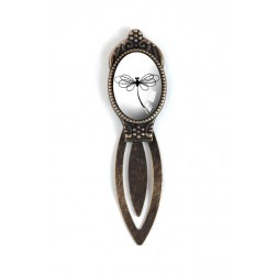 Marca cabujón, negro y blanco libélula, bronce