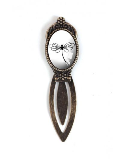 Lesezeichen Cabochon, schwarze und weiße Libelle, Bronze