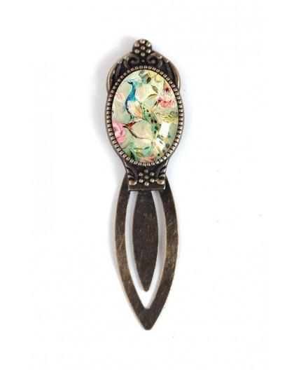 Marca cabujón, pavo real, retro, elegancia lamentable, bronce