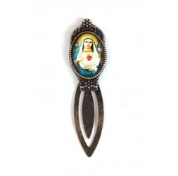 Marque page, cabochon, Vierge Marie, style rétro, bronze