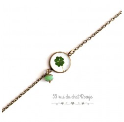Bracelet fine chain, cabochon, clover, lucky charm, green white, bronze