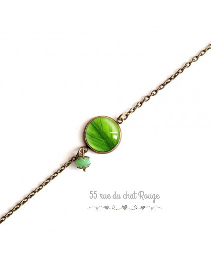 Bracelet fine chain, cabochon, green leaf, nature, bronze