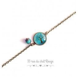 Pulsera de cadena fina, cabujón, árbol de la vida, turquesa, naturaleza, bronce