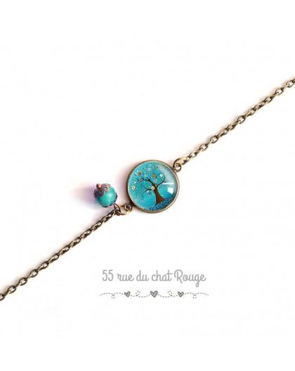 Bracelet fine chain, cabochon, tree of life, turquoise, nature, bronze