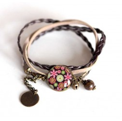 Cord Bracelet Rose cabochon pastel blue and pink flowers, bronze