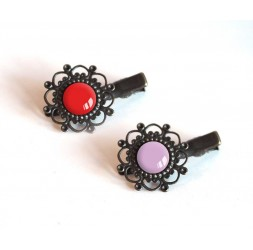 2 Hair Barrettes, cabochon, red and purple, crocodile clip, bronze
