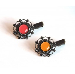 2 Hair Barrettes, cabochon, red tones, red and orange, bronze