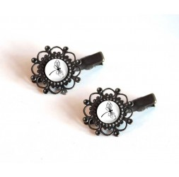 2 Hair Barrettes, cabochon, Dragonfly black and white, bronze