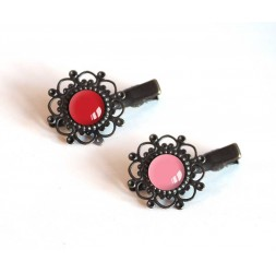 2 Hair Barrettes, cabochon pink tones, red and pink, bronze