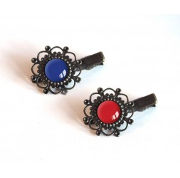 2 Hair Barrettes, cabochon, blue and red colors, Bronze