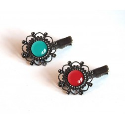 2 Hair Barrettes, cabochon turquoise tones and red, bronze