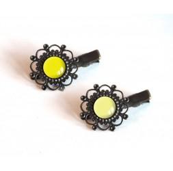 2 HaarBarrettes, Cabochon, Gelbtöne, strohgelb und hellgelb, Bronze
