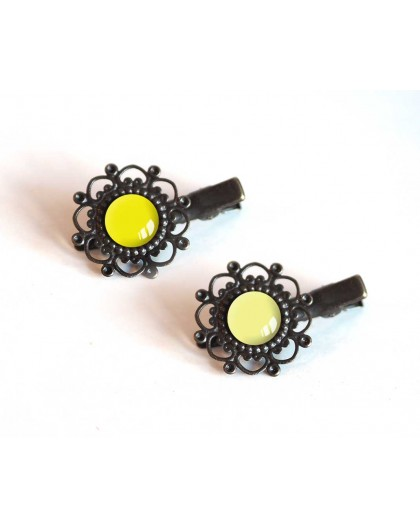 2 Hair Barrettes, cabochon, yellow tones, straw yellow and pale yellow, bronze