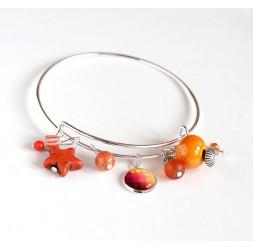 Pulsera de mujer, Rush plateado, perlas anaranjadas y cabujón