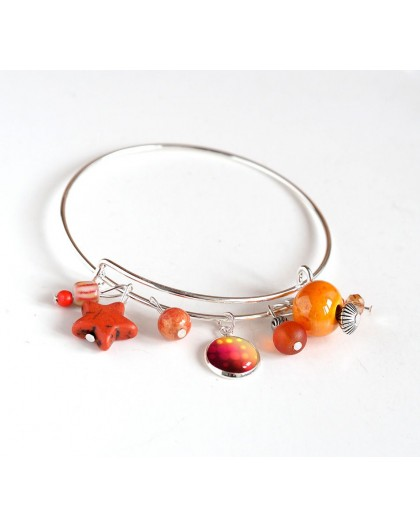 Woman bracelet, silver plated rush, orange pearls and cabochon